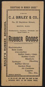 Catalog for C.J. Bailey & Co., rubber goods, No. 22 Boylston Street, Boston, Mass., undated