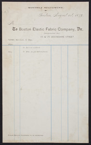 Billhead for the Boston Elastic Fabric Company, Dr., 173 & 175 Devonshire Street, Boston, Mass., dated August 1, 1879