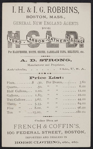 Price list for Hydro Carbon Leather Dressing for harnesses, boots, shoes, carriage tops, belting, A.D. Strong, manufacturer and proprietor, Ashtabula, Ohio, undated