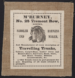 Label for M'Burney, saddler and harness maker, No. 25 Tremont Row, Boston, Mass., undated