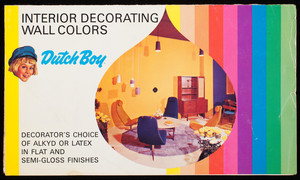 Interior decorating wall colors, decorator's choice of alkyd or latex in flat and semi-gloss finishes, Dutch Boy Paints, NL Industries, New York, New York