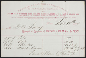 Billhead for Moses Colman & Son, National Horse and Carriage Mart, 121 to 125 Portland and 190 & 192 Friend Streets, Boston, Mass., dated September 19, 1874