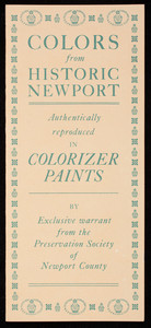 Colors from historic Newport, authentically reproduced in Colorizer Paints, Colorizer Associates