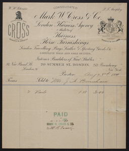 Billhead for Mark W. Cross & Co., London Harness Agency, makers of harness, horse furnishings, 20 Summer Street, Boston, Mass., dated August 23, 1899