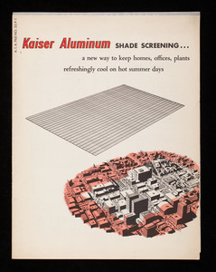 Kaiser Aluminum Shade Screening, a new way to keep homes, offices, plants refreshingly cool on hot summer days, general offices, Permanente Products Company, Kaiser Building, 1924 Broadway, Oakland, California