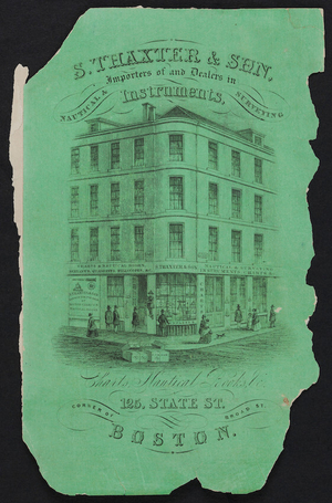 Advertisement for S. Thaxter & Son, importers of and dealers in nautical and surveying instruments, 125 State street, coner of Broad Street, Boston, Mass., undated