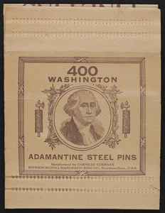 Pin holder, 400 Washington Adamantine Steel Pins, Oakville Company, division Scovill Manufacturing Co., Waterbury, Connecticut, undated