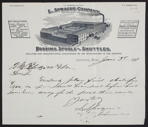 Letterhead for the L. Sprague Company, bobbins, spools and shuttles, Lawrence, Mass., dated June 3, 1889