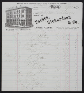 Billhead for Forbes, Richardson & Co., notions, Summer, corner Chauncy Street, Boston, Mass., dated March 11, 1871