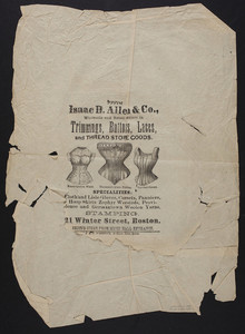 Wrapping paper for Isaac D. Allen & Co., wholesale and retail dealers in trimmings, buttons, laces and thread store goods, 21 Winter Street, Boston, Mass., undated