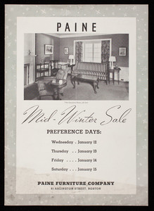 Paine Furniture Company Mid Winter Sale Of Furniture Rugs