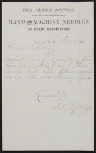 Letterhead for the Bell Needle Company, manufacturers and dealers in hand and machine needles of every description, Nashua, New Hampshire, dated September 23, 1881