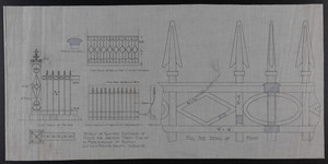 Details of Iron for Exterior of House for Arthur Perry Esq. at 10 Marlborough St. Boston and Full Scale Detail of Fence, undated