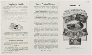 Whall's Utility Automobile Tents and camp outfits afford home comforts, manufactured only by Metropolitan Air Goods Company, Athol, Mass.