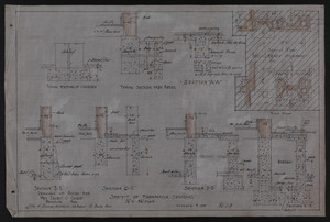 Sheet of Foundation Sections, Drawings of House for Mrs. Talbot C. Chase, Brookline, Mass., October 7, 1929