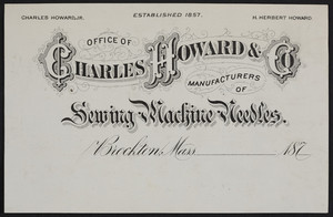 Letterhead for Charles Howard & Co., manufacturers of sewing machine needles, Brockton, Mass., 1870s