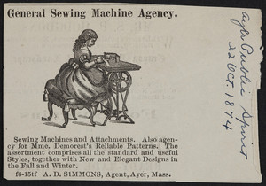 Advertisement for the General Sewing Machine Agency, A.D. Simmons, agent, Ayer, Mass., October 22, 1874