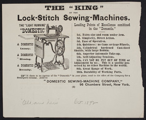 Advertisement for The Light Running Domestic, Domestic Sewing-Machine Company, 96 Chambers Street, New York, New York, October 1872