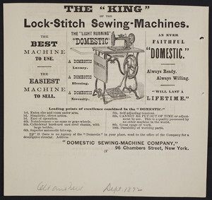 Advertisement for The Light Running Domestic, Domestic Sewing-Machine Company, 96 Chambers Street, New York, New York, September 1872