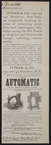 Advertisement for The Automatic or No Tension Sewing Machine, Willcox & Gibbs S.M. Co., 658 Broadway, New York, New York, June 1881
