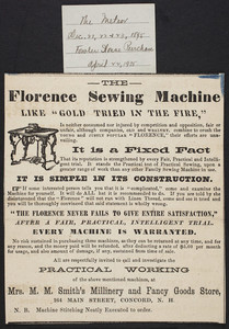 Advertisement for The Florence Sewing Machine, Florence Sewing Machine Co., Florence, Mass., December 21, 22, 23, 1895