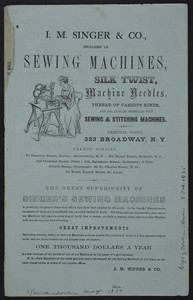 Advertisement for Singer Sewing Machines, I.M. Singer & Co., 323 Broadway, New York, New York, December 1857