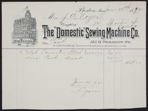 Billhead for The Domestic Sewing Machine Co., 175 B Tremont Street, Boston, Mass., dated June 28, 1892
