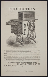 Advertisement for sewing machines, Willcox & Gibbs S.M. Co., 142 Tremont Street, corner Temple Place, Boston, Mass., November 1872