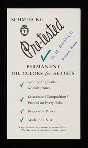 Schmincke pre-tested permanent oil colors for artists, M.Grumbacher, New York