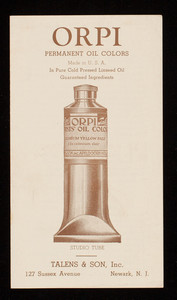 Orpi Permanent Oil Colors, Talens & Sons, Inc., 127 Sussex Avenue, Newark, New Jersey