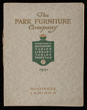 Davenport and library tables and pedestals, catalog 1921,The Park Furniture Company, Rushville, Indiana