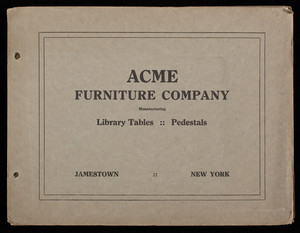 Acme Furniture Company, manufacturing library tables, pedestals, Jamestown, New York