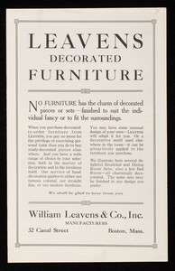 Leavens decorated furniture, William Leavens & Co., Inc., manufacturers, 32 Canal Street, Boston, Mass.