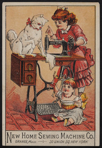 Trade card for the New Home Sewing Machine Co., Orange, Mass. and 30 Union Square, New York, New York, undated