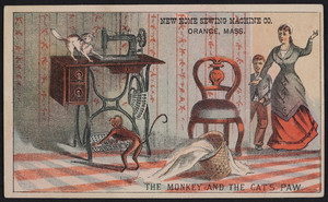 Trade card for the New Home Sewing Machine Co., Orange, Mass., undated
