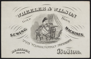 Trade card for Wheeler & Wilson, gold medal sewing machines, 228 Washington Street, Boston, Mass., undated