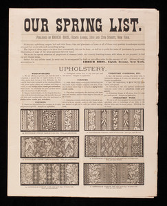 Our spring list, published by Ehrich Bros., Eighth Avenue, 24th and 25th Streets, New York, New York