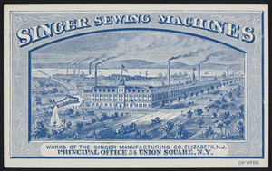 Trade card for Singer Sewing Machines, 34 Union Square, New York, New York, undated