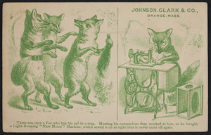 Trade card for Johnson, Clark & Co., New Home Sewing Machines, Orange, Mass., undated