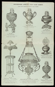 Rochester Lamp, manufactured by Edward Miller & Co., 10 & 12 College Place, 66 Park Place, New York, New York