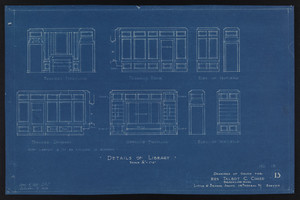 Details of Library, Drawings of House for Mrs. Talbot C. Chase, Brookline, Mass., Sept. 4, 1929 and October 7, 1929