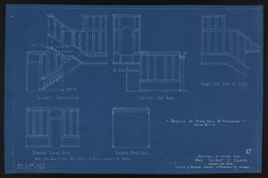 Details of Stair Hall & Staircase, Drawings of House for Mrs. Talbot C. Chase, Brookline, Mass., Sept. 6, 1929 and October 7, 1929