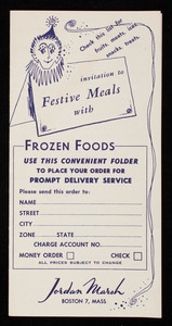 Invitation to festive meals with frozen foods, Jordan Marsh, Boston, Mass.