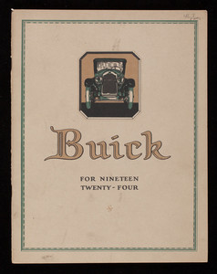 Buick for nineteen twenty-four, Buick Motor Company, division of General Motors Corporation, Flint, Michigan