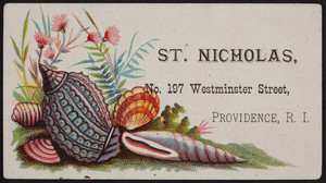 Trade card for St. Nicholas, sewing machines, No. 197 Westminster Street, Providence, Rhode Island, undated