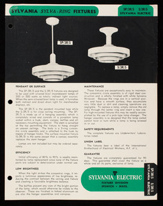 Sylva Ring Incandescent Fixtures, Sylvania Electric Products, Inc., Ipswich, Mass.