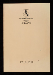 Fall styles, 1931, Collins & Fairbanks Co., 383 Washington Street, 16 Bromfield Street, Boston, Mass.