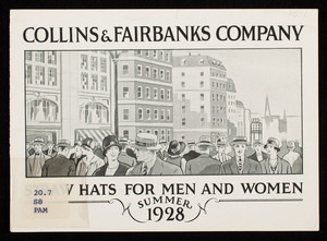 Straw hats for men and women, summer 1928, Collins & Fairbanks Co., 383 Washington Street, 16 Bromfield Street, Boston, Mass.