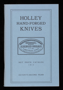 Holley Hand-Forged Knives, net price catalog, 1915, Salisbury Association, Inc., 25 Main Street, P.O. Box 553, Salisbury, Connecticut