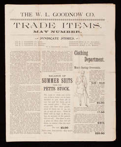 Trade items, May number, W.L. Goodnow Co., Keene, New Hampshire